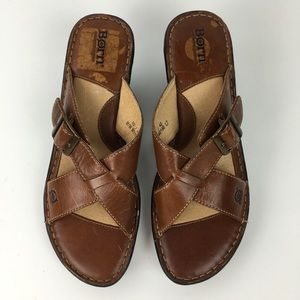 Born Slip On Sandals Open Toe Buckle Hand Crafted